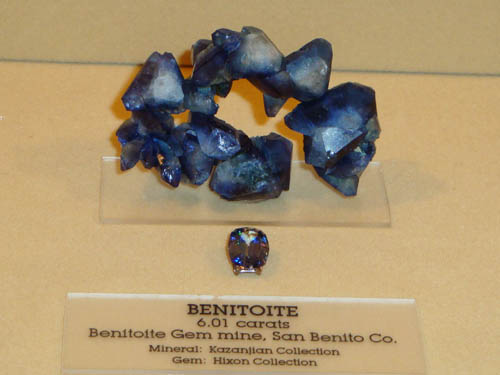 Benitoite rough and cut