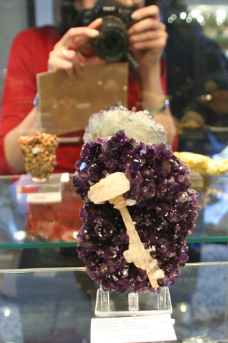 Calcite on Amethyst from Santino Mine, Uruguay