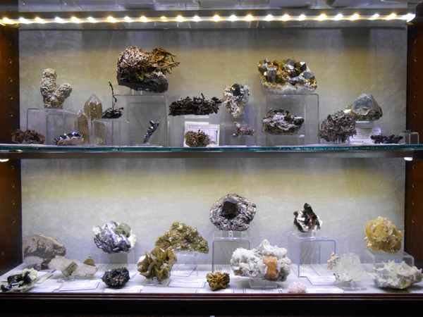 fine mineral specimens on display