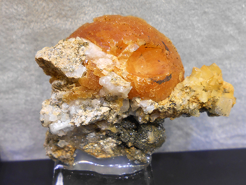 A partial ball of Stilbite from the la Lauziere Massif, Savoie, Rhone Alpes, France