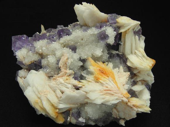 Fluorite and Baryte on Quartz