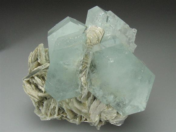 Beryl Var Aquamarine on Muscovite