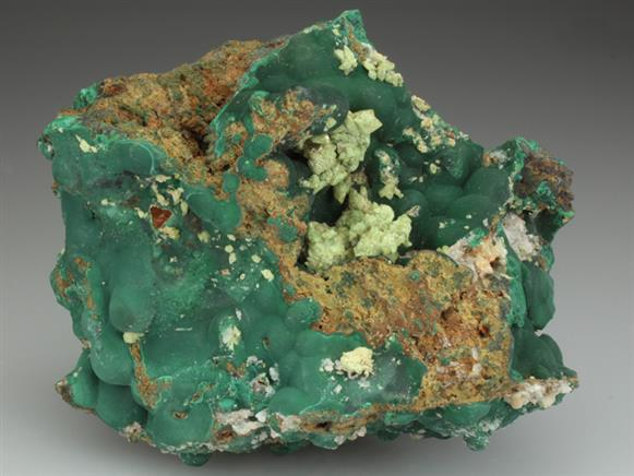 Adamite on Malachite
