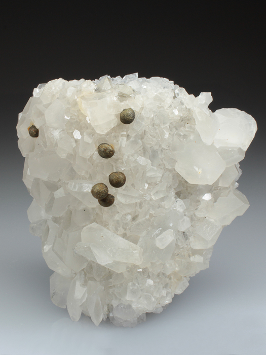 Pyrite on Calcite With Quartz on Fluorite