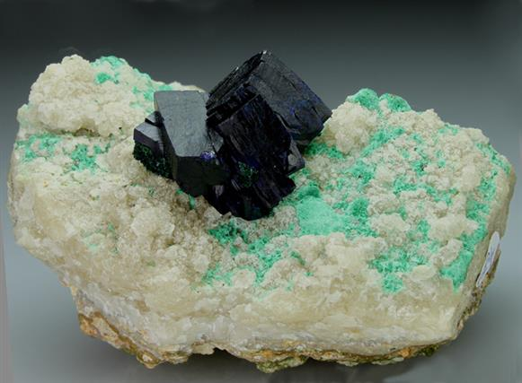 Azurite on Calcite With Malachite