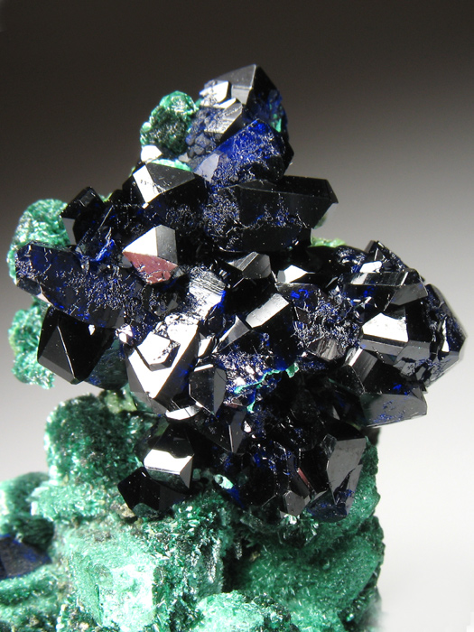 Azurite on Malachite After Azurite