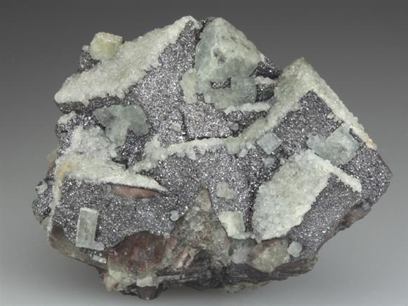 Fluorite Coated With Quartz and Galena