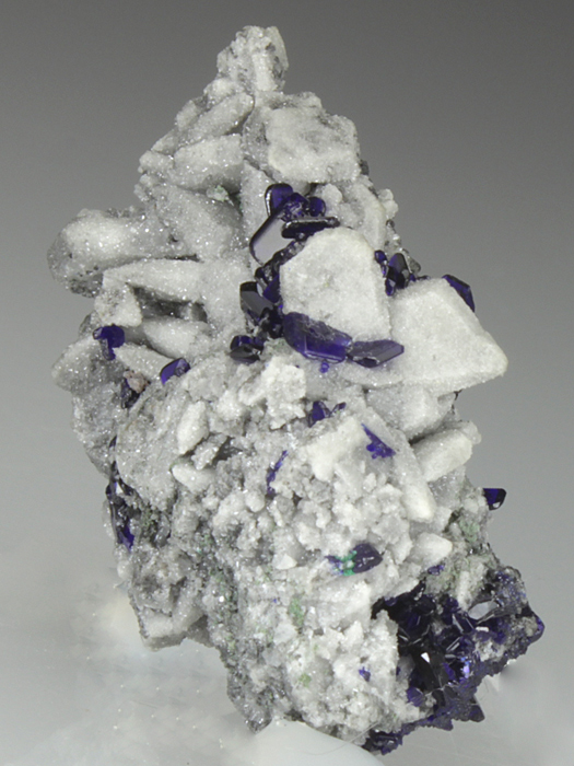 Azurite on Cerussite Pseudomorph After Anglesite
