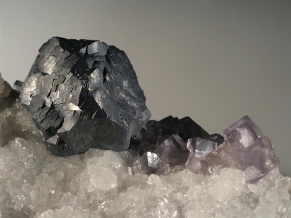 Galena and Fluorite on Quartz