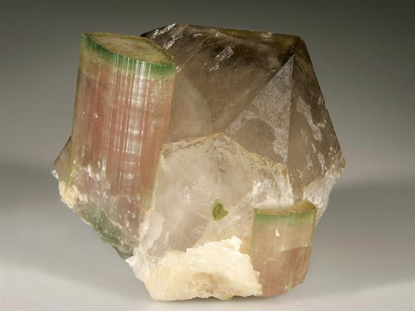 Tourmaline Var Elbaite on Smoky Quartz