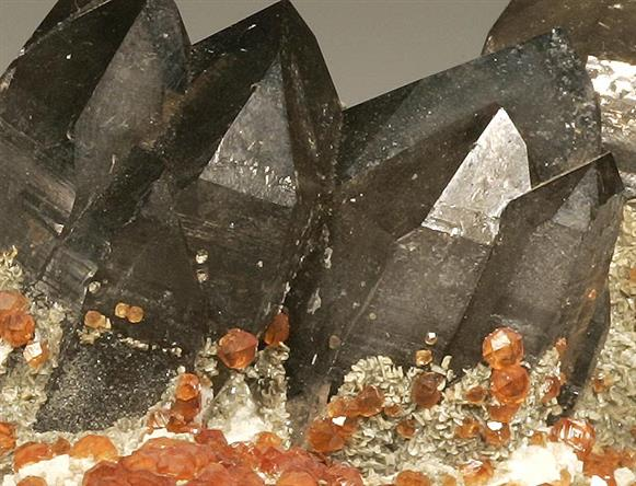 Garnet Var Spessartine and Smoky Quartz