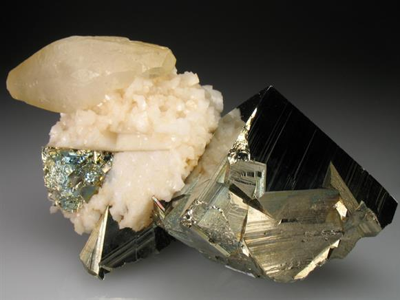 Calcite on Dolomite With Pyrite
