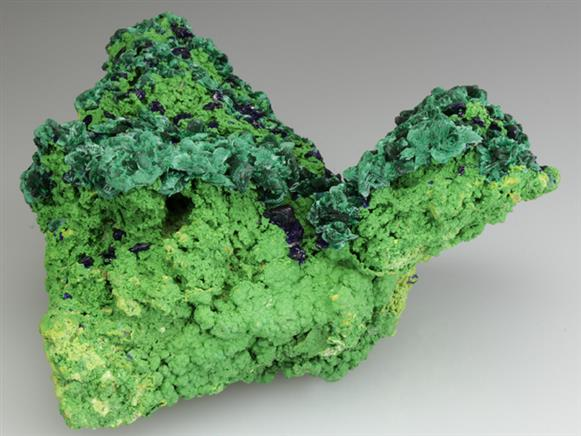 Azurite With Malachite on Bayldonite