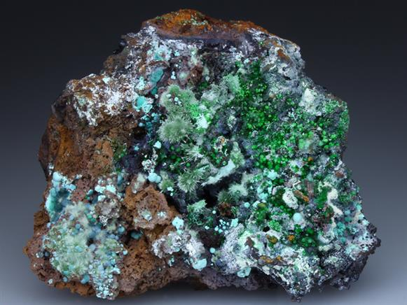 Olivenite, Conichalcite, and Rosasite