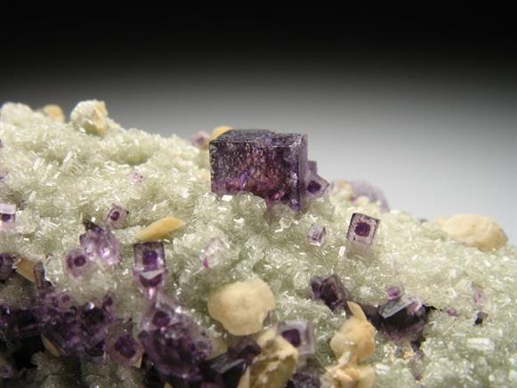 Fluorite on Apatite Cast Of Dolomite