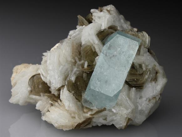 Beryl Var Aquamarine With Albite and Muscovite