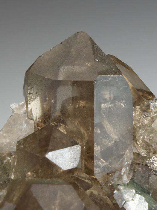 Quartz Var Smoky With Chlorite Coated Adularia