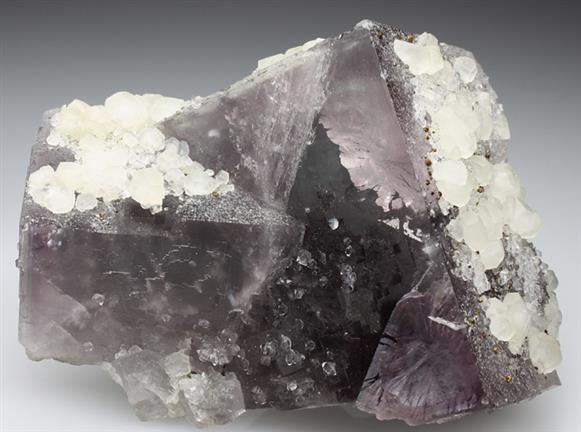 Calcite and Quartz on Fluorite