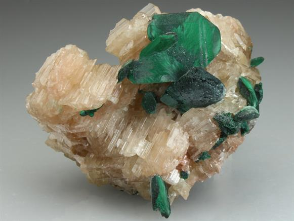 Malachite After Azurite on Reticulated Cerussite