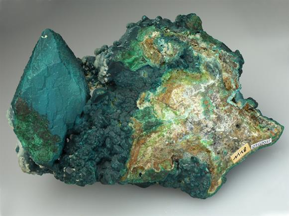 Rosasite on Malachite Pseudomorph After Azurite
