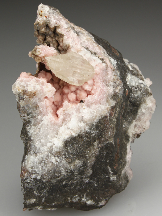 Cerussite on Rhodochrosite