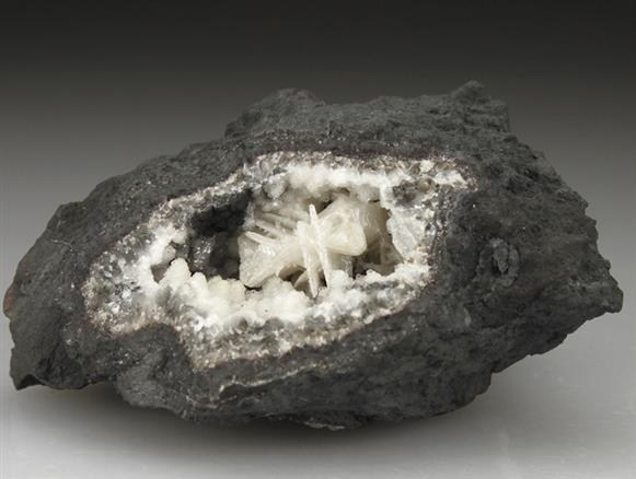 Cerussite In Calcite Geode