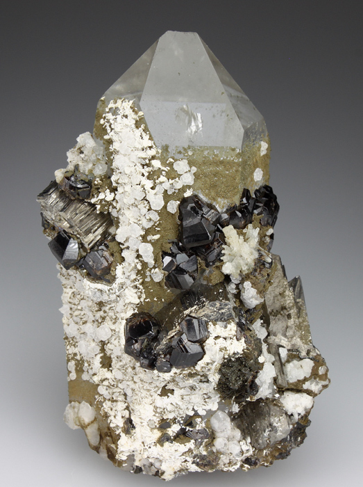Cassiterite and Arsenopyrite, on Quartz