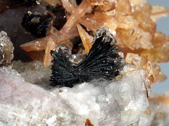 Inesite and Hubeite on Quartz