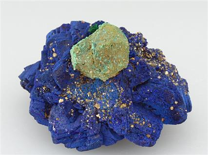 Malachite Coated Cuprite on Azurite