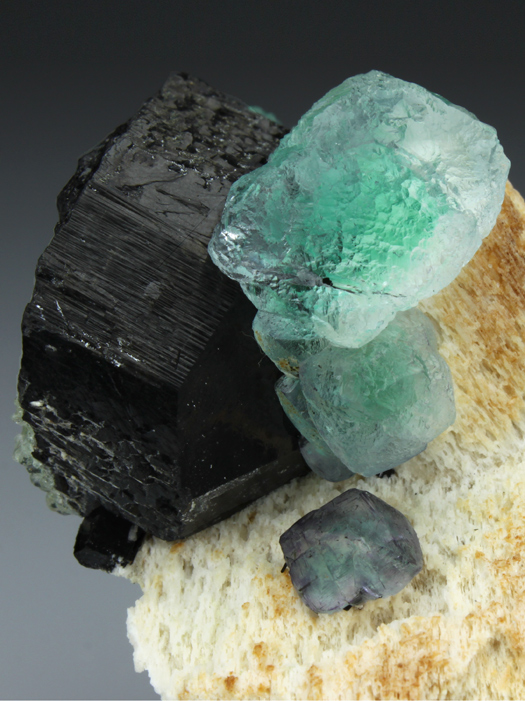 Fluorite on Feldspar and Schorl