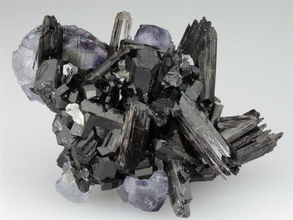 Fluorite and Beryl on Schorl Tourmaline