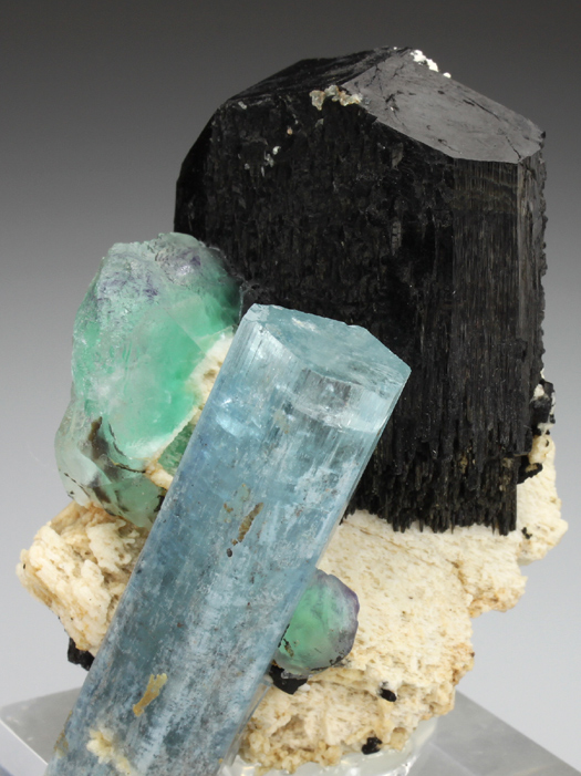 Aquamarine, Schorl, Fluorite and Feldspar