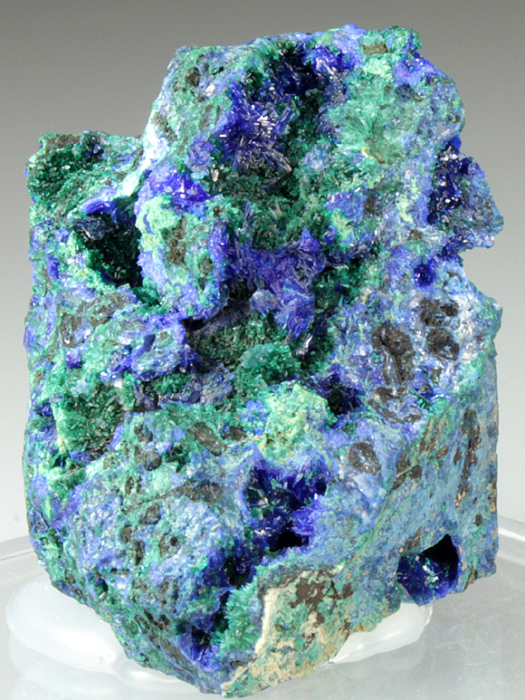 Linarite on Brochantite With Caledonite