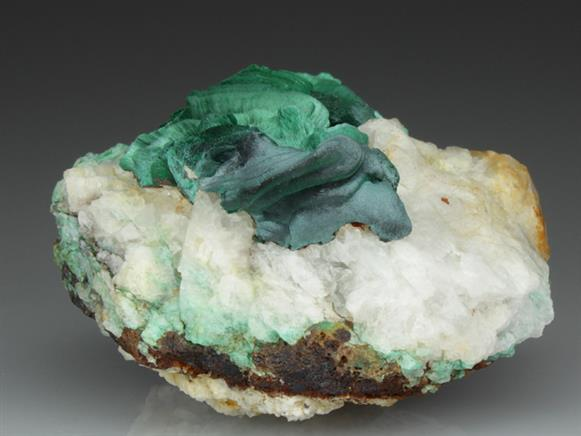 Malachite on Quartz