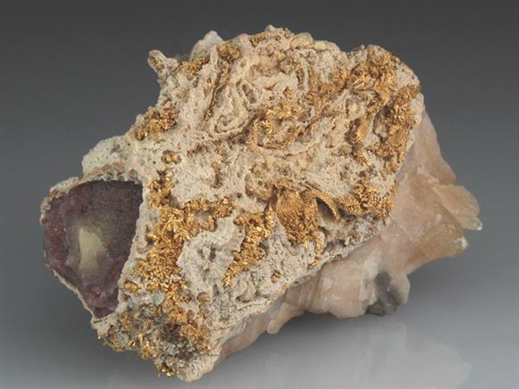 Native Gold In Calcite