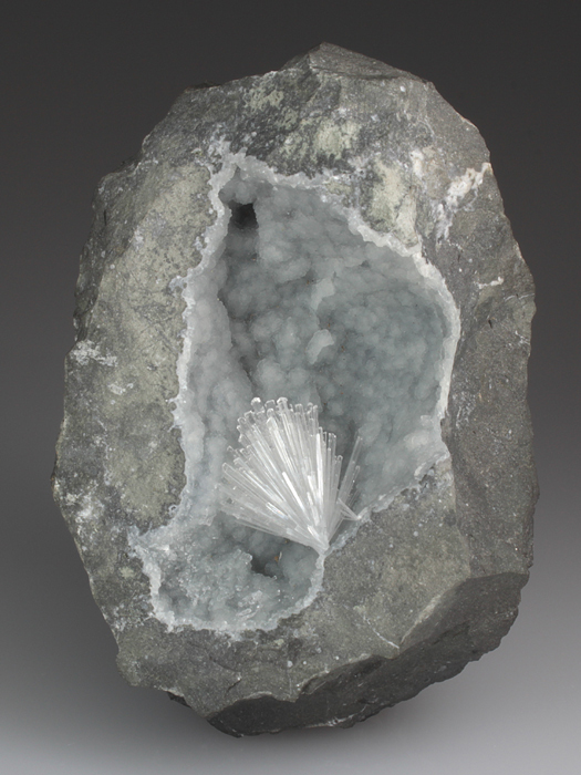 Mesolite on Prehnite