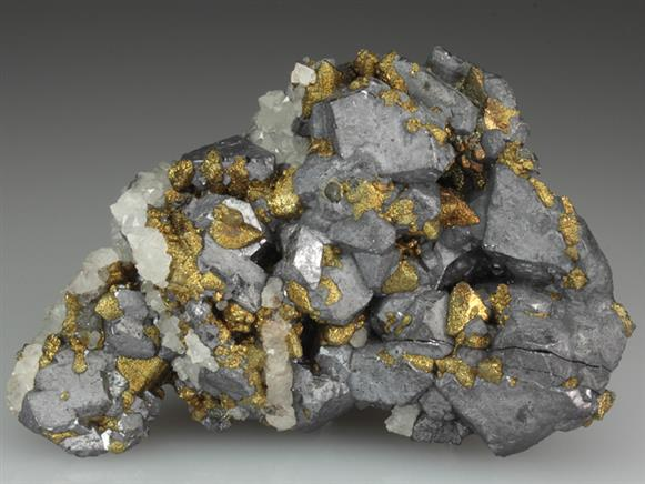 Galena With Chalcopyrite Coated Tetrahedrite
