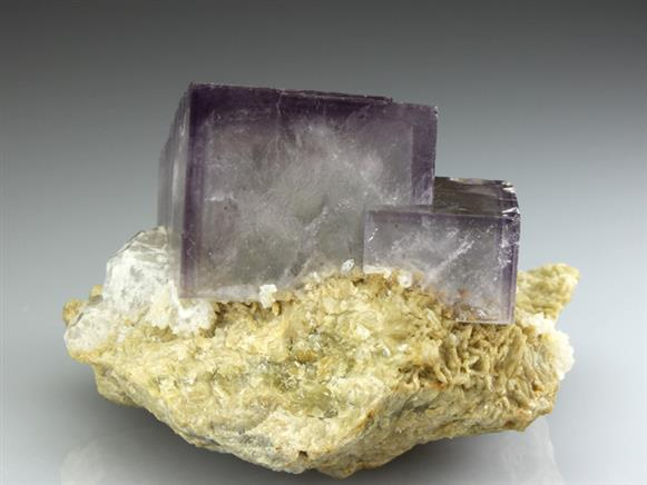 Fluorite With Quartz on Siderite