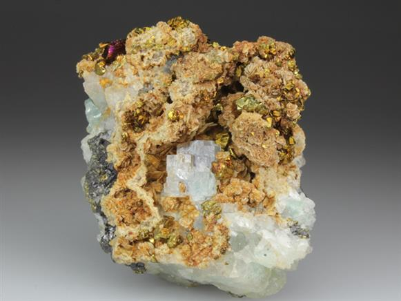 Fluorite, Siderite and Chalcopyrite on Fluorite