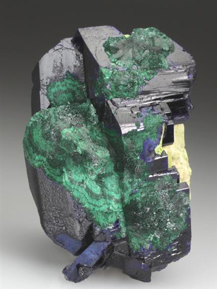 Azurite Partly Pseudomorphed By Malachite