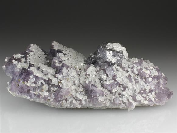 Calcite and Galena on Fluorite