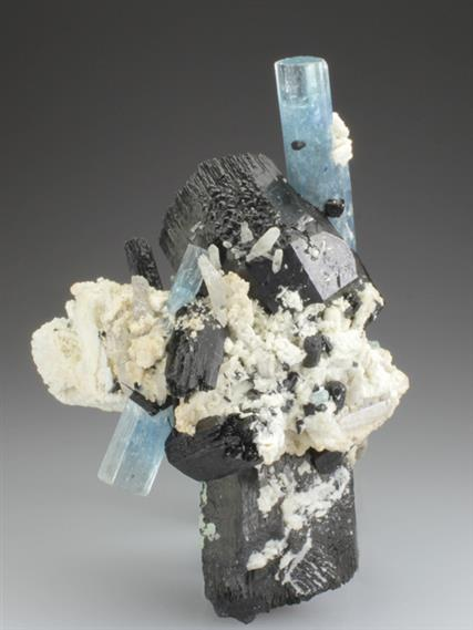 Beryl Var Aquamarine With Schorl and Feldspar