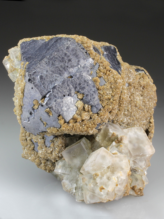 Galena on Fluorite With Siderite