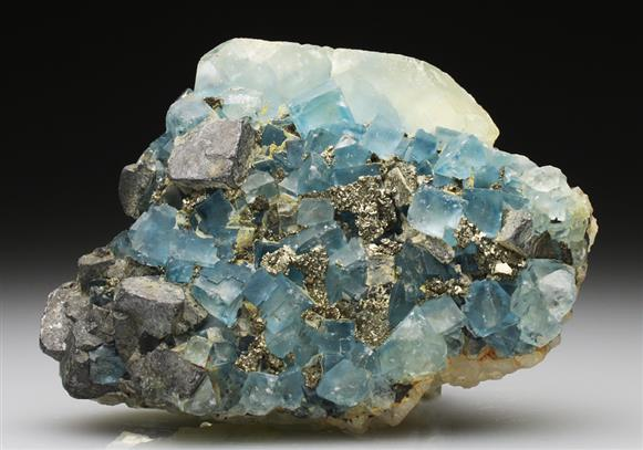 Fluorite With Galena and Pyrite