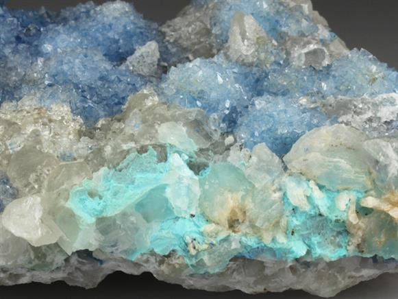 Quartz Coating Shattuckite and Calcite