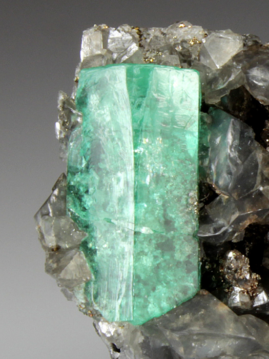 Beryl Var Emerald With Calcite