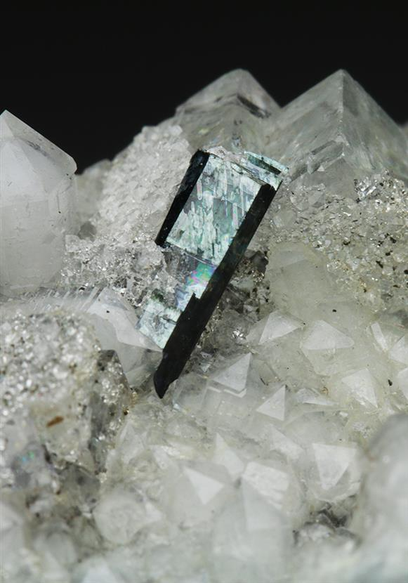 Vivianite With Fluorite on Quartz
