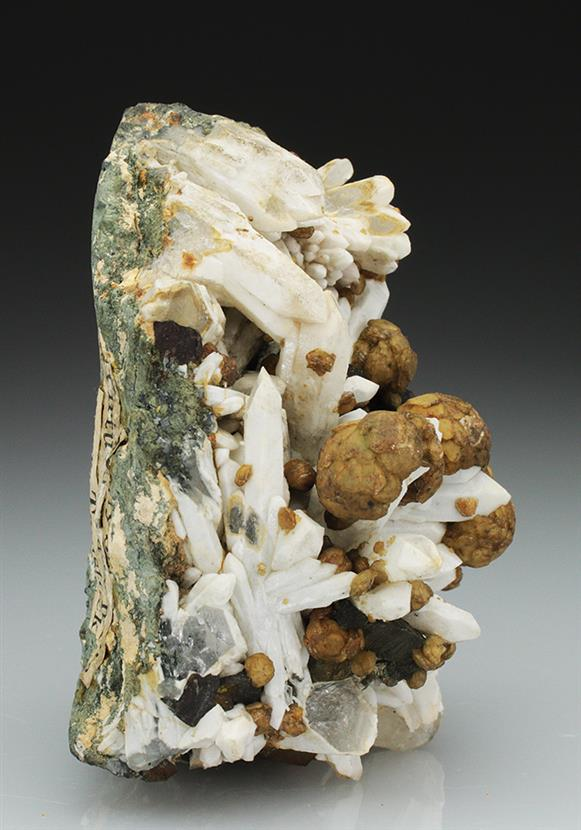 Siderite With Chalcopyrite on Quartz