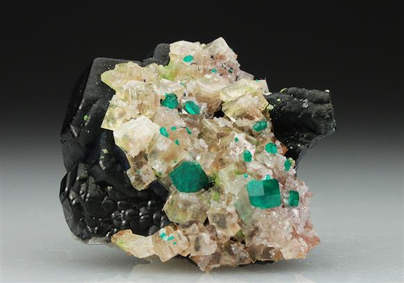 Dioptase With Heterogenite and Calcite
