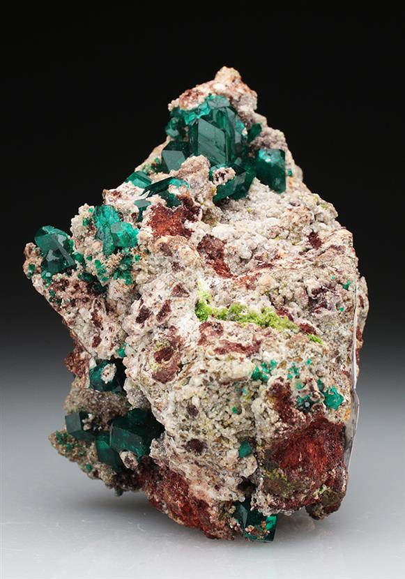 Molybdofornacite With Dioptase and Duftite